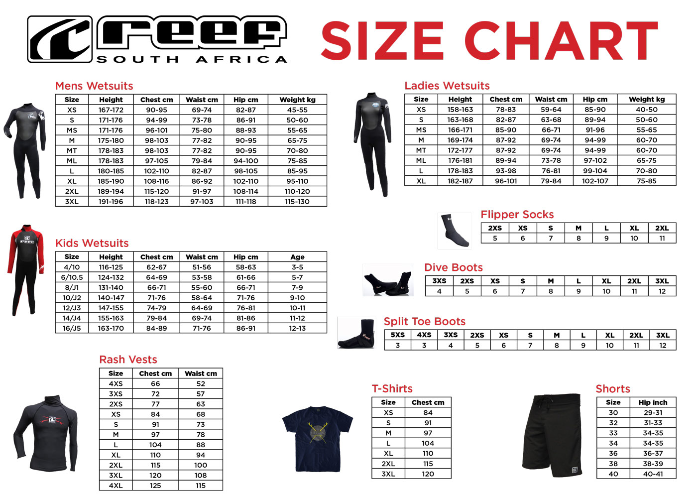 Reef Wetsuits Size Chart Jpg